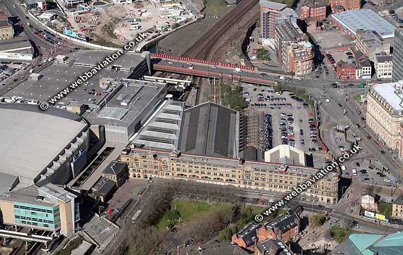 aerial photograph of  Victoria Railway Station   Manchester England UK