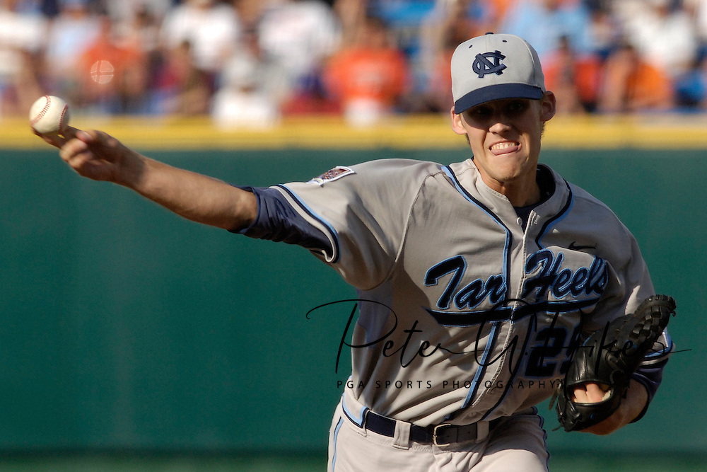 North Carolina starting pitcher Daniel Bard pitched 7.2 innings and took the loss against Oregon State.  Oregon State defeated North Carolina 3-2 for the National Championship at the College World Series at Rosenblatt Stadium in Omaha, Nebraska, June 26, 2006.