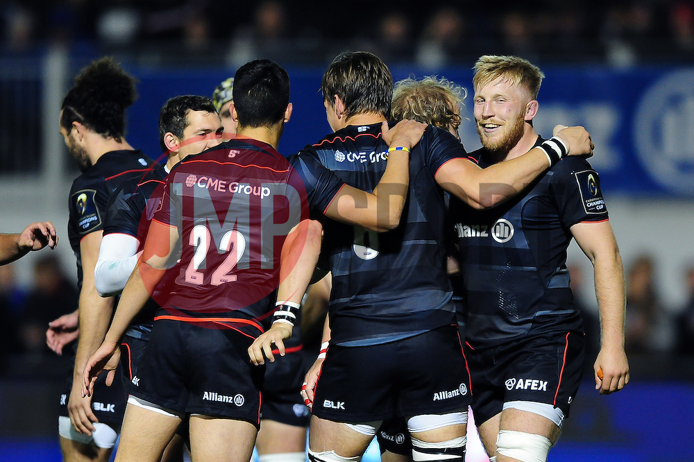 Saracens players celebrate a try from Michael Rhodes - Mandatory byline: Patrick Khachfe/JMP - 07966 386802 - 22/10/2016 - RUGBY UNION - Allianz Park - London, England - Saracens v Scarlets - European Rugby Champions Cup.