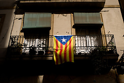 June 9, 2017 - Barcelona, Catalonia, Spain - A estelada flag (symbol of Catalan independence) hangs from a balcony in Barcelona. The government of Catalonia has announced that will held out a referendum on independence the next first of October. (Credit Image: © Jordi Boixareu via ZUMA Wire)