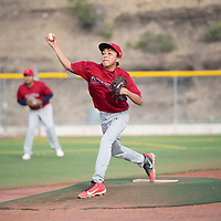 Ely Leyba pitches for the Angels against the Athletics in the Pee Wee Reese league at Ford Canyon Park Friday, May 31 in Gallup.