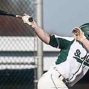 St. Marks Pitcher Andrew Reich (6) singles in the bottom of the third inning of a regular season baseball game between the St. Marks Spartans and Caravel Academy at St. Marks Stadium Thursday April 14, 2016 in Wilmington.