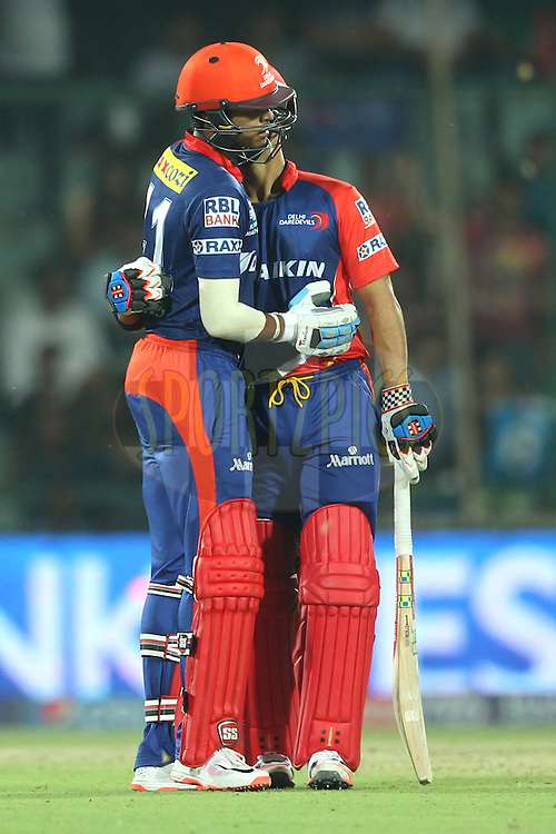 Shreyas Iyer of the Delhi Daredevils celebrates his Fifty with Jean-Paul Duminy captain of the Delhi Daredevils  during match 21 of the Pepsi IPL 2015 (Indian Premier League) between The Delhi Daredevils and The Mumbai Indians held at the Ferozeshah Kotla stadium in Delhi, India on the 23rd April 2015.<br /> <br /> Photo by:  Deepak Malik / SPORTZPICS / IPL