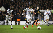 Tottenham Hotspur forward Heung-Min Son sribbling and launching another attack during the Europa League match between Tottenham Hotspur and Monaco at White Hart Lane, London, England on 10 December 2015. Photo by Matthew Redman.