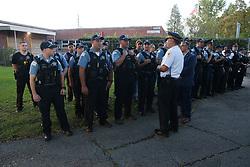 October 8, 2018 - Chicago, IL, USA - CPD 25th Dist. Comdr. Tony Escamilla, right, leads a police roll in Hermosa Park Monday, Oct. 8, 2018 in Chicago. (Credit Image: © Nuccio Dinuzzo/Chicago Tribune/TNS via ZUMA Wire)