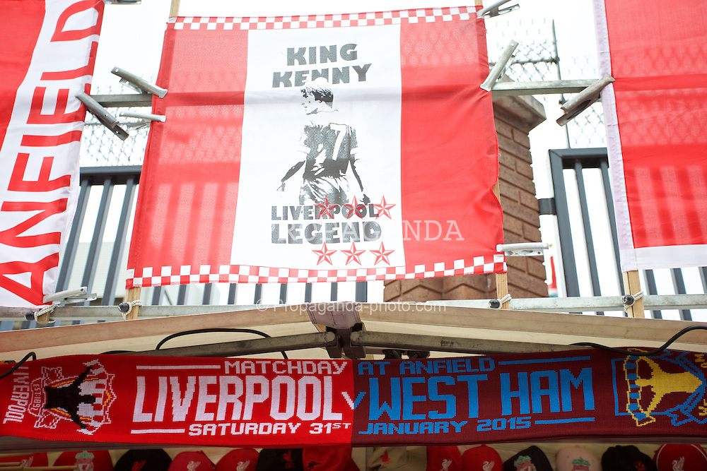 LIVERPOOL, ENGLAND - Saturday, January 31, 2015: Souvenirs and scares on sale outside Anfield before the Premier League match between Liverpool and West Ham United. (Pic by David Rawcliffe/Propaganda)