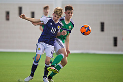 EDINBURGH, SCOTLAND - Sunday, October 30, 2016: Scotland's Billy Gilmour in action against Northern Ireland's Callum Ferris during the opening match of the Under-16 2016 Victory Shield at ORIAM. (Pic by David Rawcliffe/Propaganda)