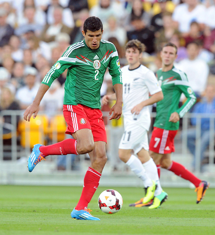 Mexico's Francisco Javier Rodriguez against New Zealand in the World Cup Football qualifier, Westpac Stadium, Wellington, New Zealand, Wednesday, November 20, 2013. Credit:SNPA / Ross Setford