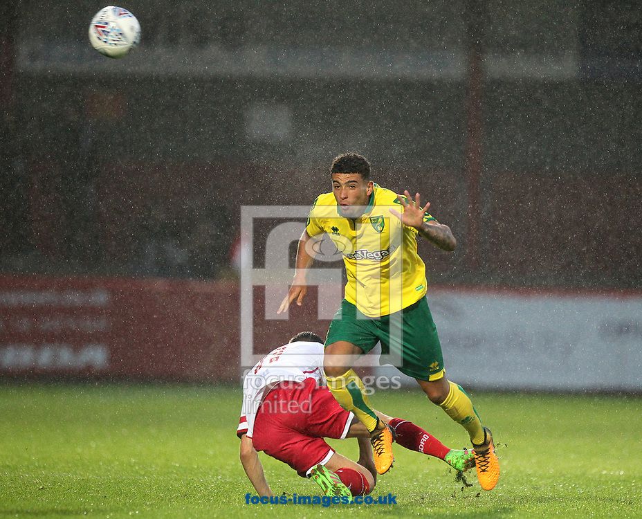 Ben Godfrey of Norwich heads clear during the Pre-season Friendly match at the Lamex Stadium, Stevenage<br /> Picture by Paul Chesterton/Focus Images Ltd +44 7904 640267<br /> 11/07/2017