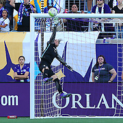 Orlando Pride goalkeeper Ashlyn Harris (1) makes a leaping save during a NWSL soccer match at Camping World Stadium on May 8, 2016 in Orlando, Florida. (Alex Menendez via AP)