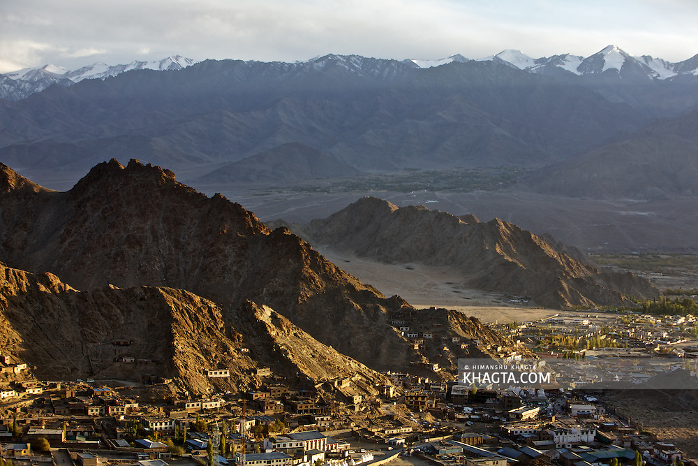 The city of Leh during sunset. Leh is the captal of modern Ladakh and is the largest town.