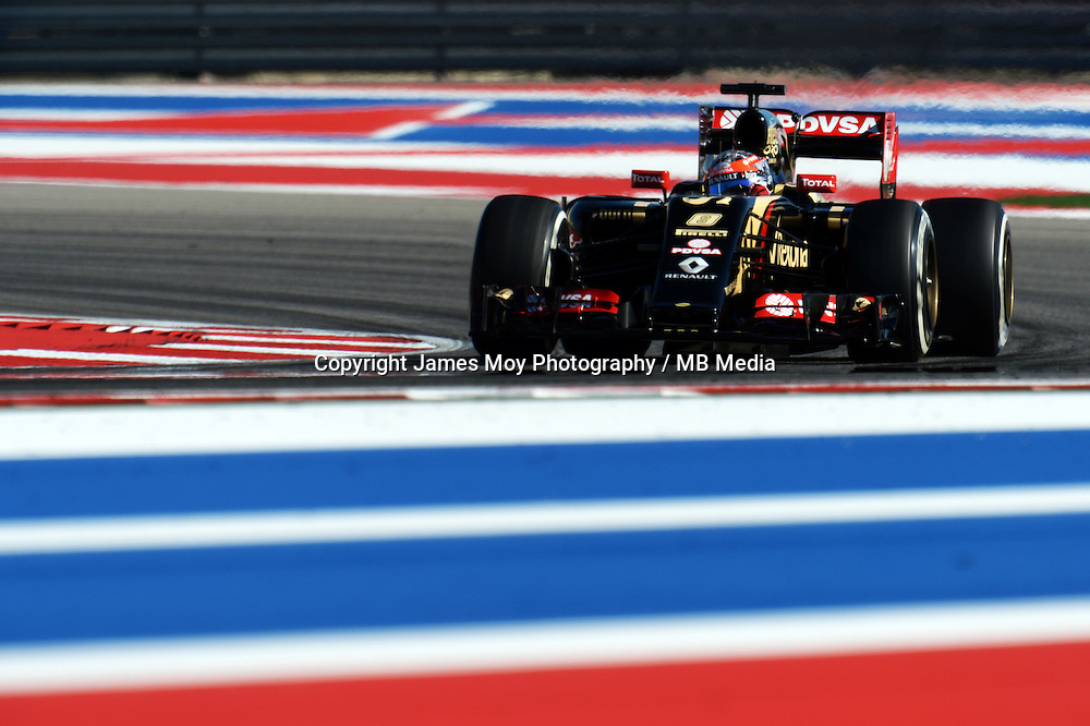 Romain Grosjean (FRA) Lotus F1 E22.<br /> United States Grand Prix, Friday 31st October 2014. Circuit of the Americas, Austin, Texas, USA.
