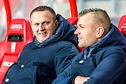 ENSCHEDE - 17-12-2016, FC Twente - AZ, Grolsch Velst Stadion, AZ trainer John van den Brom, Joost van der Hoek (r)
