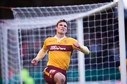 Motherwell's John Sutton celebrates after scoring their goal.<br /> Dundee 4 v 1 Motherwell, SPFL Premiership played 10/1/2015 at Dundee's home ground Dens Park.