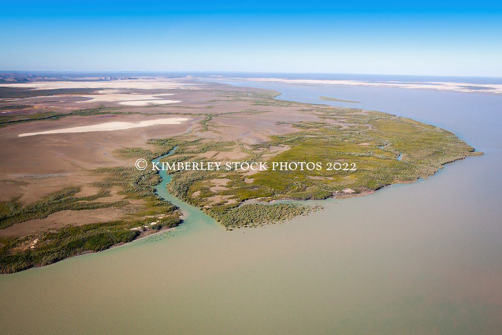 Aerial view looking back towards Point Torment, north of Derby, a proposed industrial site for the export of uranium, coal, oil and gas.