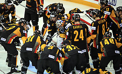 German Team before  ice-hockey match Germany (played in old replika jerseys from year 1946) vs Slovakia at Preliminary Round (group C) of IIHF WC 2008 in Halifax, on May 05, 2008 in Metro Center, Halifax, Nova Scotia, Canada. Germany won 4:2. (Photo by Vid Ponikvar / Sportal Images)