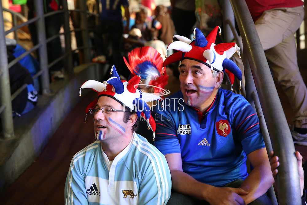 French fans prior to kick off and an Argentinian French fan during the Rugby World Cup Pool D match between France and Italy at Twickenham, Richmond, United Kingdom on 19 September 2015. Photo by Matthew Redman.