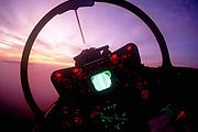 F-14A rear cockpit at night