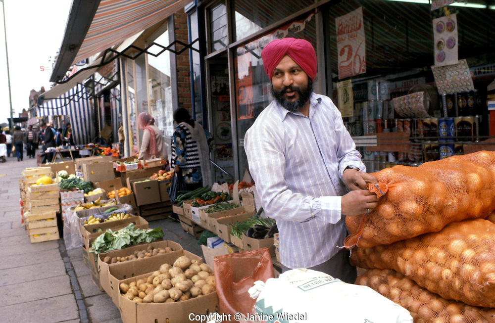 Asian fruit and vegetable stall in Southall london.