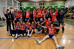 Players of ACH celebrate with a trophy after the volleyball match between ACH Volley Bled and UKO Kropa at final of Slovenian National Championships 2011, on April 27, 2011 in Arena SGTS Radovljica, Slovenia. ACH Volley defeated Kropa 3-0 and became Slovenian National Champion 2011. (Photo By Vid Ponikvar / Sportida.com)
