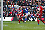 Ipswich Town midfielder, on loan from Bolton Wanderers,  Liam Feeney (12)  with a shot on goal during the Sky Bet Championship match between Middlesbrough and Ipswich Town at the Riverside Stadium, Middlesbrough, England on 23 April 2016. Photo by Simon Davies.
