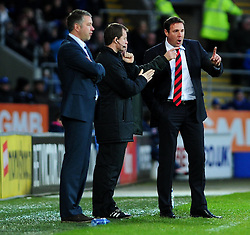 Cardiff City Manger, Malky Mackay argues with the forth official as Peterborough score a goal from a free kick - Photo mandatory by-line: Dougie Allward/JMP  - Tel: Mobile:07966 386802 15/12/2012 - SPORT - FOOTBALL -  Championship -  Cardiff-  New Cardiff City Stadium  -  Cardiff City v Peterborough United