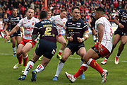 Leeds Rhinos winger Tom Briscoe (2) makes a break out of defence during the Betfred Super League match between Hull Kingston Rovers and Leeds Rhinos at the Lightstream Stadium, Hull, United Kingdom on 29 April 2018. Picture by Mick Atkins.