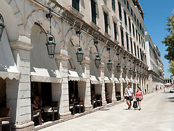 Famous Liston Arcade lined with bars and cafes in Kerkyra Corfu Island Greece