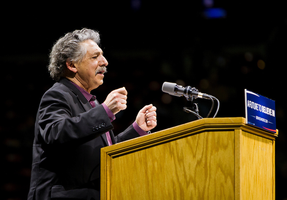 "Madison Mayor Paul Soglin speaks before U.S. Democratic Presidential candidate Senator Bernie Sanders' (I-Vt.) ""Future to Believe In"" Rally at the Kohl Center in Madison, Wisconsin April 3, 2016."