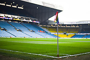 A wide view of a corner flag in support of Stonewall's Rainbow Laces campaign before the EFL Sky Bet Championship match between Leeds United and Bristol City at Elland Road, Leeds, England on 24 November 2018.