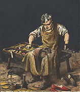 Cobbler mending boots. Chromolithograph from an English children's book published in 1867.