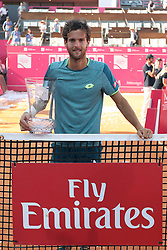 May 6, 2018 - Estoril, Portugal - Joao Sousa of Portugal poses with the trophy after winning the Millennium Estoril Open ATP 250 tennis tournament final against Frances Tiafoe of US, at the Clube de Tenis do Estoril in Estoril, Portugal on May 6, 2018. (Joao Sousa won 2-0) (Credit Image: © Pedro Fiuza/NurPhoto via ZUMA Press)