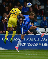 Byron Moore of Bristol Rovers wins a high ball over Lee Martin of Gillingham - Mandatory by-line: Alex James/JMP - 14/04/2017 - FOOTBALL - MEMS Priestfield Stadium - Gillingham, England - Gillingham v Bristol Rovers - Sky Bet League One