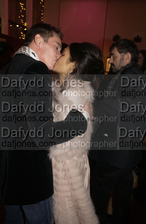 """Reena Hammer AND Jonathan Rhys-Meyers. The after show party following the UK Premiere of """"Match Point,"""" at Asprey, New Bond st. London.   December 18 2005 ,  ONE TIME USE ONLY - DO NOT ARCHIVE  © Copyright Photograph by Dafydd Jones 66 Stockwell Park Rd. London SW9 0DA Tel 020 7733 0108 www.dafjones.com"""