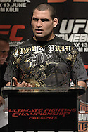 "COLOGNE, GERMANY, JUNE 11, 2009: Cain Velasquez is pictured during the pre-fight press conference for ""UFC 99: The Comeback"" inside the Hyatt Regency Hotel in Cologne, Germany on June 11, 2009."