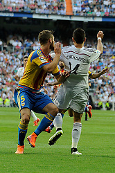 09.05.2015, Estadio Santiago Bernabeu, Madrid, ESP, Primera Division, Real Madrid vs FC Valencia, 36. Runde, im Bild Real Madrid&acute;s Chicharito and Valencia&acute;s Shkodran Mustafi // during the Spanish Primera Division 36th round match between Real Madrid CF and Valencia FC at the Estadio Santiago Bernabeu in Madrid, Spain on 2015/05/09. EXPA Pictures &copy; 2015, PhotoCredit: EXPA/ Alterphotos/ Luis Fernandez<br /> <br /> *****ATTENTION - OUT of ESP, SUI*****