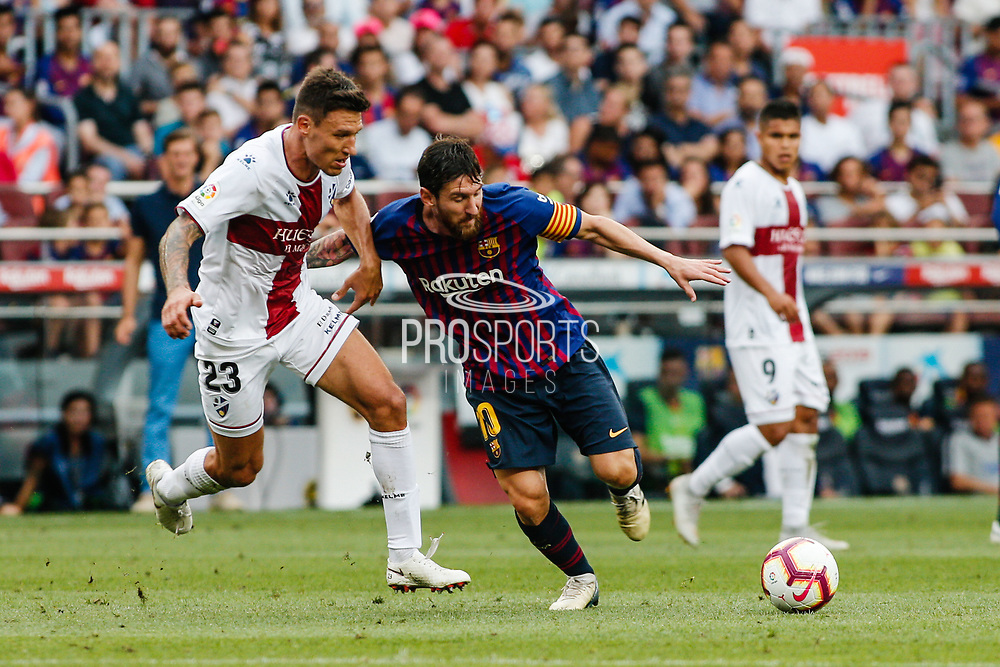 Lionel Messi of FC Barcelona and Damian Musto of Huesca during the Spanish championship La Liga football match between FC Barcelona and Huesca on September 2, 2018 at Camp Nou Stadium in Barcelona, Spain - Photo Xavier Bonilla / Spain ProSportsImages / DPPI / ProSportsImages / DPPI