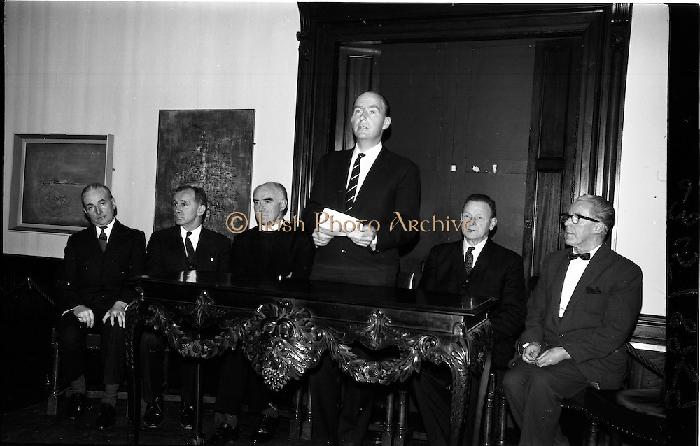 03/02/1964<br /> 02/03/1964<br /> 03 February 1964 <br /> Opening of Coras Trachtala Japanese Design Exhibition at Municipal Art Gallery, (The Hugh Lane Gallery) Dublin. Image shows Dr P.J. Hillery, Minister for Education opening the exhibition. Also in picture are from left: Mr James White, Municipal Art Gallery; Dr T. O'Raifeartaigh, Secretary Department of Education; Rev. Fr Donal O'Sullivan SJ, Chairman Art Council; Mr John Haughey, Chairman C.T.T. and Alderman P.A. Brady TD.