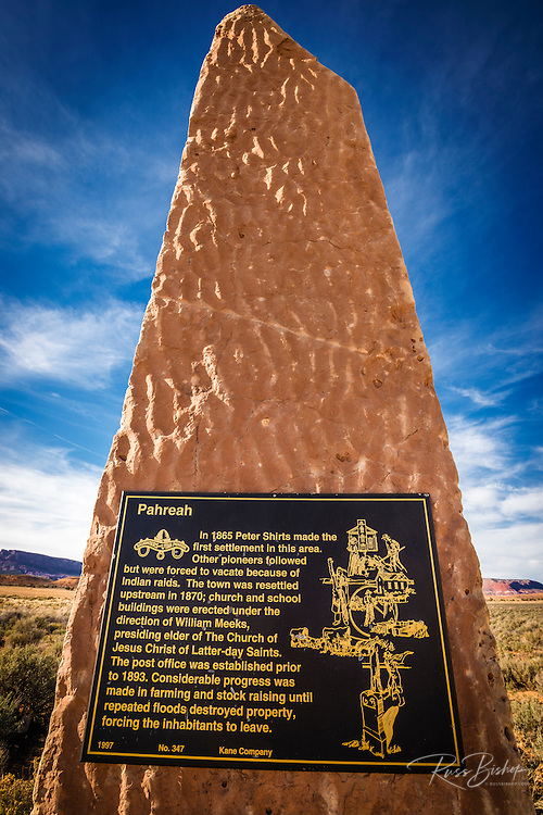 Monument to the Paria (Pahreah) town pioneers, Grand Staircase-Escalante National Monument, Utah USA