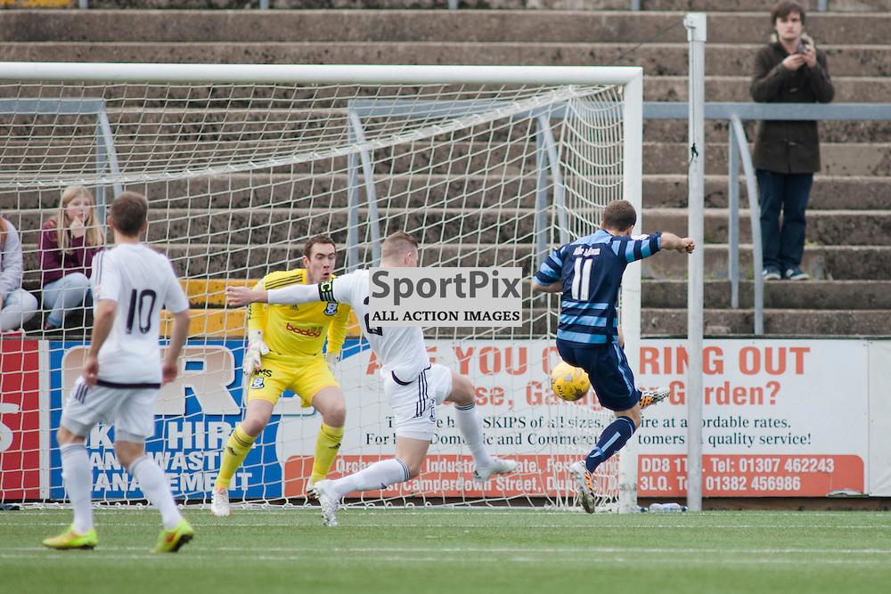 Danny Denholm scores a goal in the Forfar Athletic v Ayr United Station Park, Forfar, 17 October 2015<br />(c) Russell G Sneddon / SportPix.org.uk