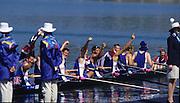 Sydney, AUSTRALIA, GBR M8+ moving onto medal pontoon, after winning the gold medal in the men's eights, at the 2000 Olympic Regatta, Penrith Lakes. [Photo Peter Spurrier/Intersport Images]  [left to right] LINDSAY, Andrew, HUNT-DAVIS, Ben, DENNIS, Simon, ATTRILL, Louis, GRUBOR, Luka, WEST, Kieran.SCARLETT, Fred, TRAPMORE Steve and cox DOUGLAS, Rowley 2000 Olympic Regatta Sydney International Regatta Centre (SIRC) 2000 Olympic Rowing Regatta00085138.tif