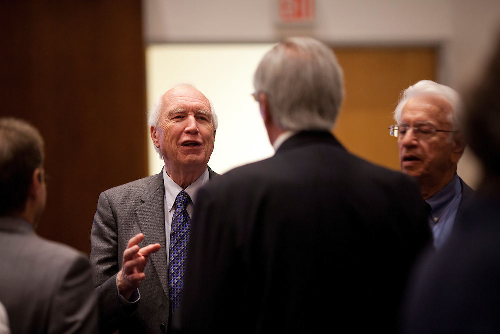 UI physics professor Dr. Donald Gurnett speaks with colleagues at a symposium honoring his prolific career in astrophysics at the University of Iowa's Levitt Center for University Advancement in Iowa City on Saturday, October 17, 2015. (Rebecca F. Miller/Freelance for The Gazette)
