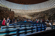 Helsinki, Finland -- July 19, 2019. Photo taken inside Rock Church in Helsinki, Finland, so called because the church is carved into a rock formation.
