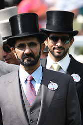 File Picture of Sheikh Mohammed bin Rashid Al Maktoum  and his son Sheikh Hamdan at  the opening day of Royal Ascot, Tuesday, 19th June 2012  Photo by: Stephen Lock / i-Images 2012. Racing has been rocked by drugs scandal as Eleven horses test positive for steroids at stable owned by Dubai ruler Sheikh Mohammed, April 23, 2013, Photo by Andrew Parsons/i-images