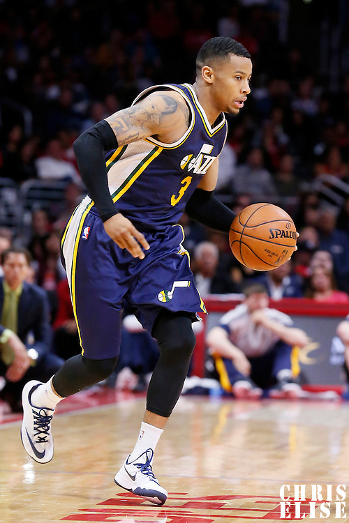 17 October 2014: Utah Jazz guard Trey Burke (3) brings the ball up court during the Los Angeles Clippers 101-97 victory over the Utah Jazz, in a preseason game, at the Staples Center, Los Angeles, California, USA.