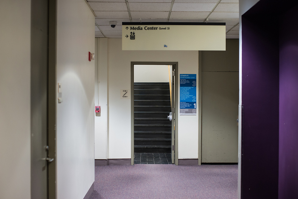 03/12/2018 - A stairway in Tisch Library is pictured on Mar 12, 2018. (Ray Bernoff / The Tufts Daily)