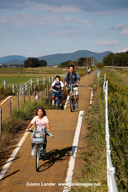 Japanese Cyclist on the Rails for Trails Tsukuba Bike Route