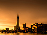 London, England - March 31, 2017: Sunrise over The Shard Building and River Thames, London.