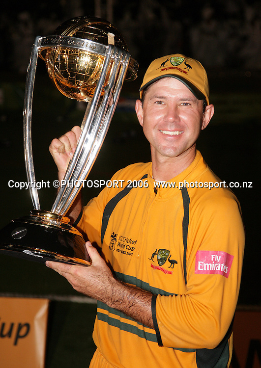 The Australian captain Ricky Ponting holds the World Cup aloft at the conclusion of the 2007 ICC Cricket World Cup Final between Australia and Sri Lanka at Kensington Oval, Barbados, West Indies on Saturday 28 April 2007. Australia won the toss and elected to bat first and won the match by 53 runs. Photo: Andrew Cornaga/PHOTOSPORT<br /><br /><br />280407