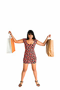 Happy young Asian woman shopper